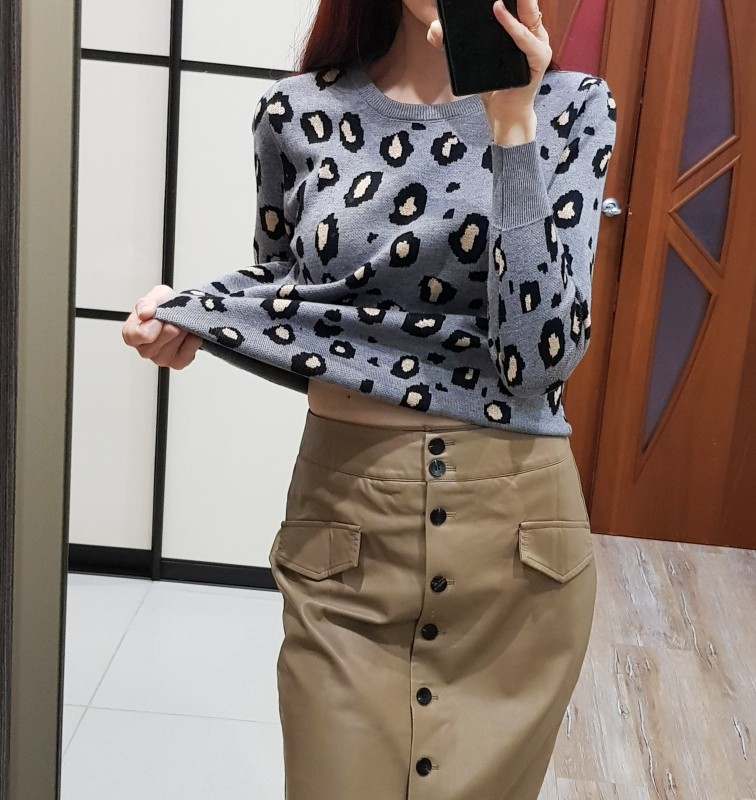 GIGOGOU Newly Leopard Women O Neck Sweater 2020 Autumn Winter Thick Warm Pullovers Top Soft Female Jumper Knitwear Outfits Pull