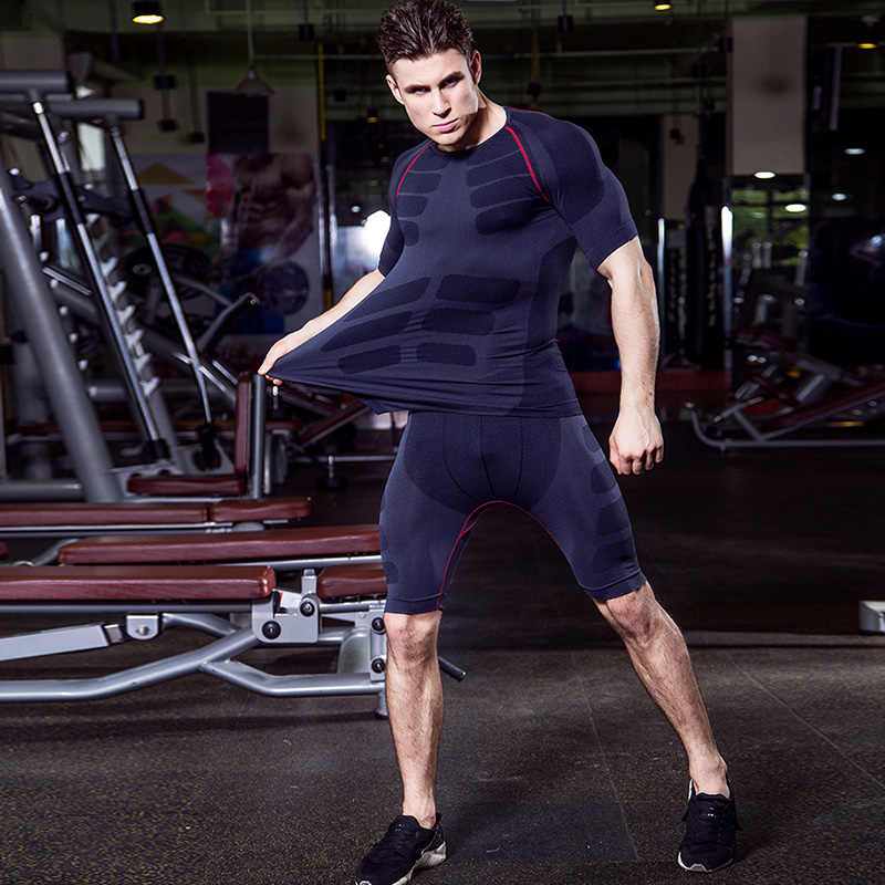 Ru Lokal Gratis Pengiriman Kompresi Pakaian Latihan Yg Hangat Kebugaran Celana Ketat Menjalankan Set Kaos Legging Olahraga Demix Hitam Pria Gym Olahraga Suit