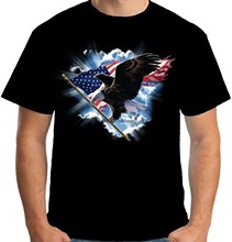 Velocitee Mens American T Shirt Eagle USA Flag Stars &amp Stripes Biker A17995(China)