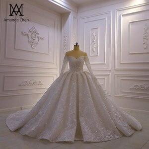 Image 1 - Abendkleid Off Shoulder koronkowa suknia ślubna z długim rękawem 2020