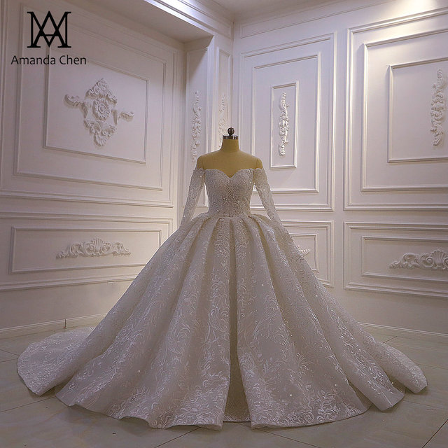 Abendkleid Off Shoulder koronkowa suknia ślubna z długim rękawem 2020