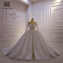 abendkleid Off Shoulder Long Sleeve Lace Wedding Dress 2020