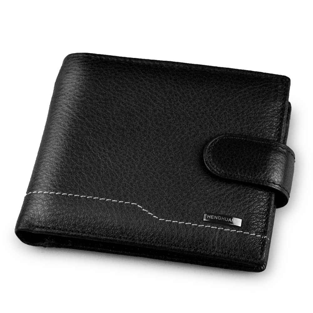 100% genuine leather wallet best wallets for man real leather purse with coin pocket trifold Card Holder Bifold Male Purse