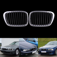 1Pair Gloss Car Front Sport Grill Kidney Black Grilles Front Hood Kidney Grille For BMW 5 Series M5 E39 E60 E61 2003 2009
