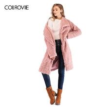 COLROVIE розовый воротник водопад сплошной плюшевое пальто Мода Осень Зима теплые одноцветные пальто Гламурная Верхняя одежда миди