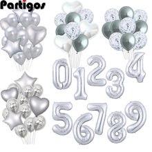 Foil lettera palloncini Argento Grande Numero Stagnola Aerostato Lettera di Buon Compleanno Figure ballons Partito Baloon Per La Decorazione Di Compleanno