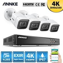 Annke 4k ultra hd 8ch sistema de segurança, vídeo 5 em 1, 8mp, h.265 dvr, com 4 peças, 8mp, uso externo, à prova de intempéries, cctv kit de câmeras de vigilância