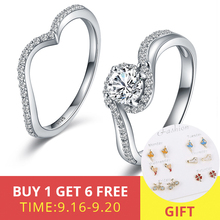XiaoJing New Fashion 925 Sterling Silver Detachable Double Ring For Women White CZ Wedding Valentine Gift free shipping
