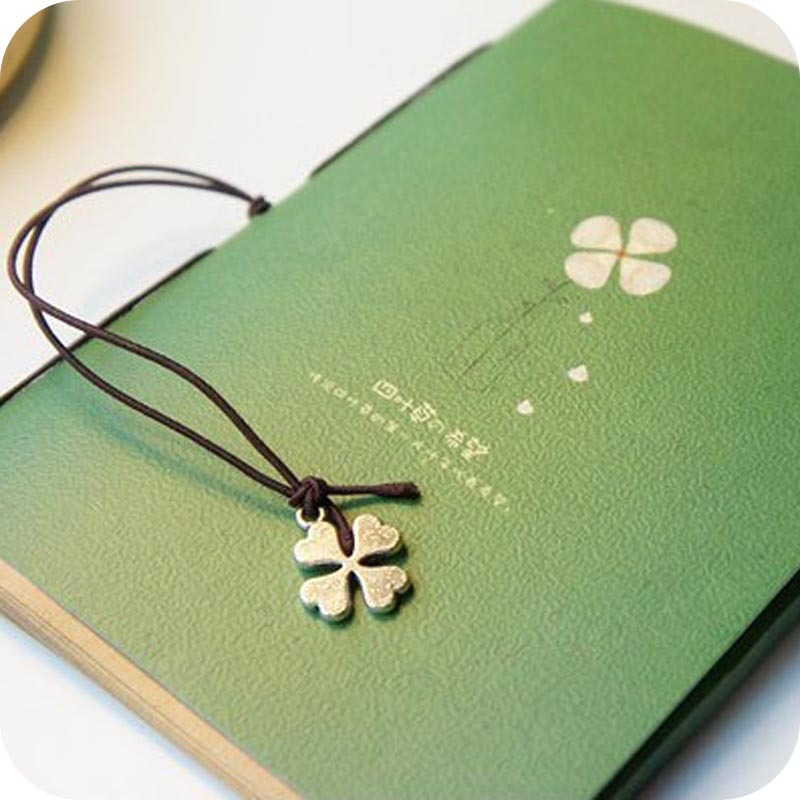 Lucky Clover Kraft Paper Rope Binding Note Book Blank Horizontal Note Memo Pad Student Message Pasted Notepad