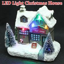 Светодиодный светящийся Рождественский деревенский дом из смолы Рождественский строительный подарок для дома Декор Рождественский кулон
