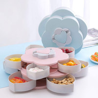 Creative Flower Type Rotating Candy Box Plastic Snack Storage Tray Wedding Candy Petal Box Family Snacks Partition Box