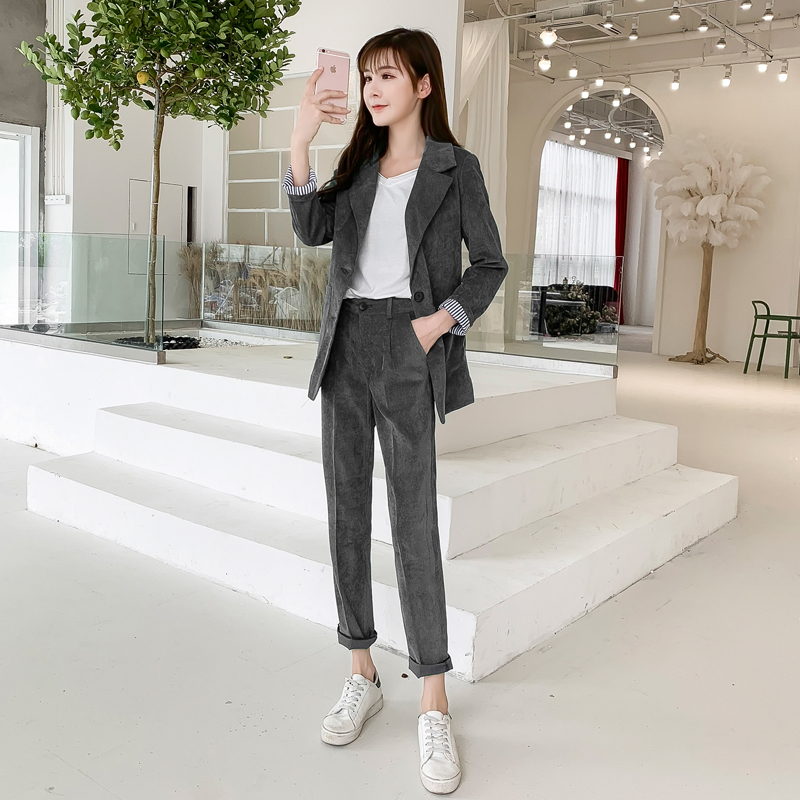 Autumn Winter Blazer Pants Suit Women Korean Chic Fashion Office Ladies Green Corduroy Casual High Waist Small Feet Pants Suit 41