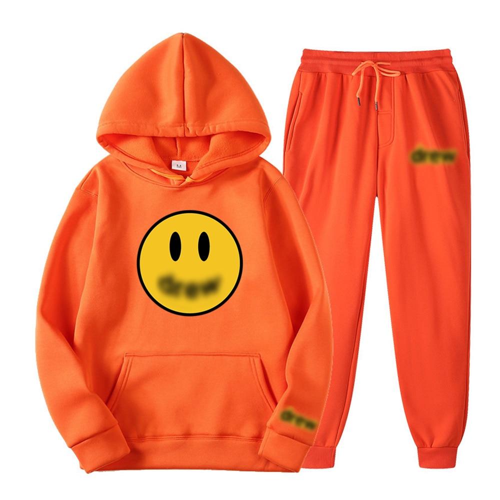 Модный мужской костюм с капюшоном, пуловер в стиле хип-хоп, Зимние флисовые толстовки, свитшот с эластичным поясом, спортивные брюки с принтом смайлика