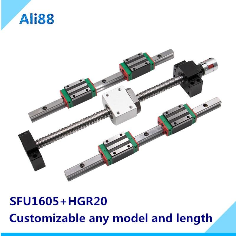 Горячая продажа cnc направляющие наборы SFU1605 шариковый винт 750/800/850 мм + линейная направляющая HGR20 + Корпус гайки + муфта 3D принтер