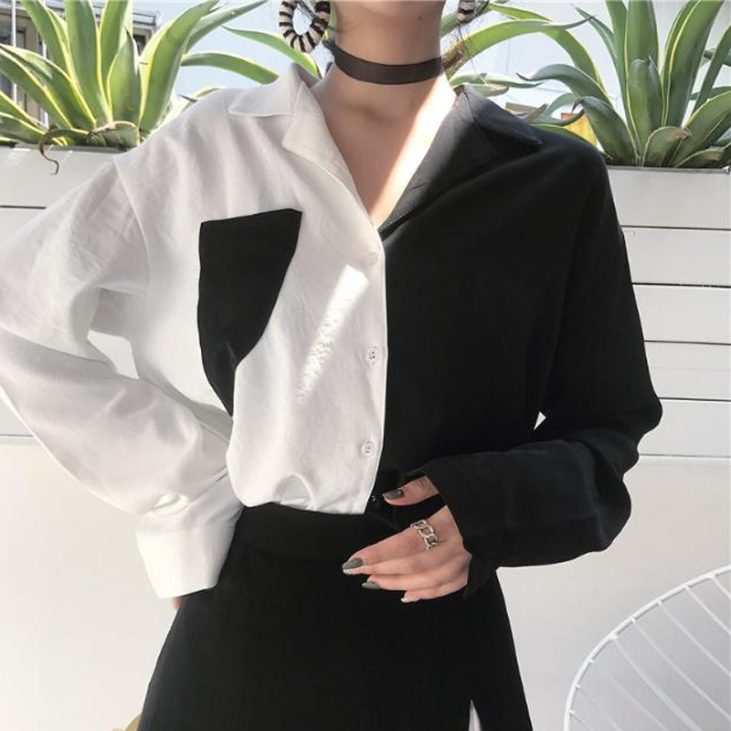 New Fashion Women Blouse Contrast Color Pockets Autumn Female Turn Down Collar Single Breasted Office Lady Shirt Top 1