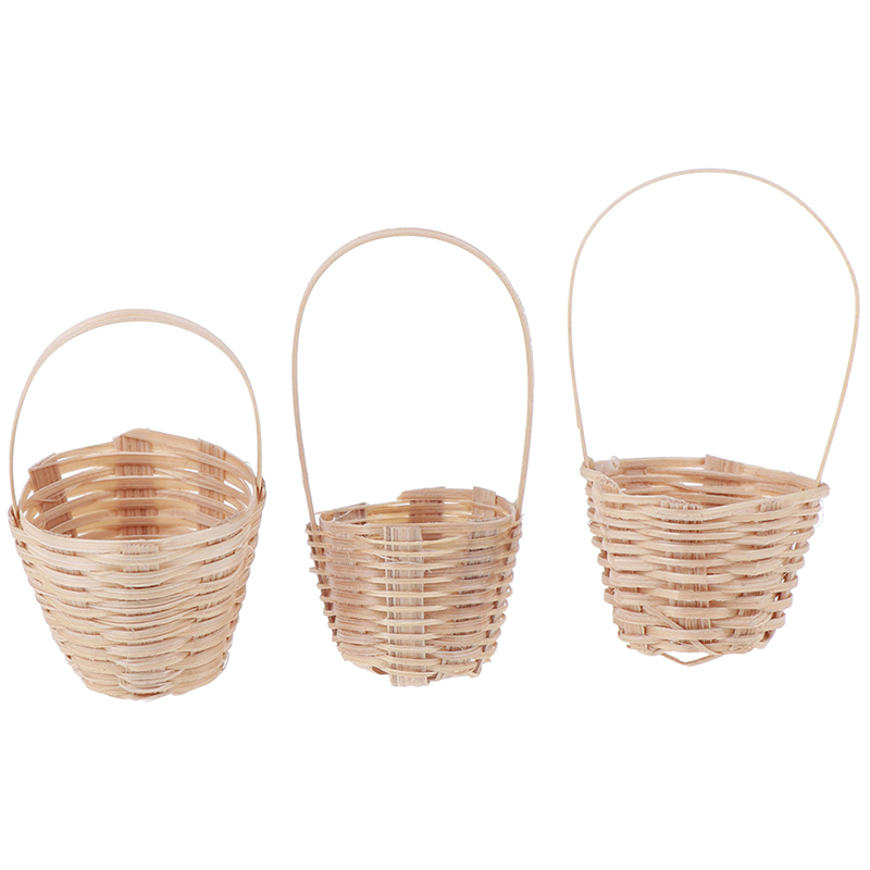 MINI Bamboo Basket Simulation Food Basket Model Toys For Doll House Decoration 1/12 Dollhouse Miniature Accessories