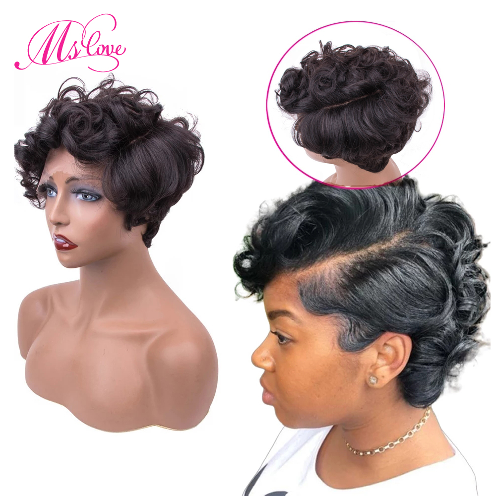 Short Curly Human Hair Wigs Remy Brazilian Lace Front Left Right Parting Wig Human Hair Wigs 150% 6 Inch Wigs For Women