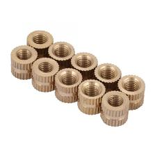 10pcs M5 Stainless Steel Square Nuts Brass Cylinder Knurled Round Molded-in Insert Embedded Wood Screw And Nut