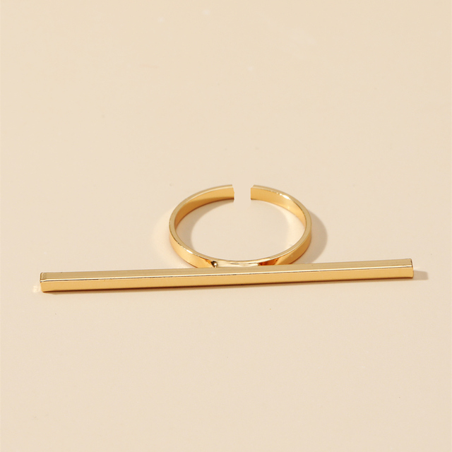 MANGOSKY 18KGP Fashion Long Square Bar Ring For Women 4