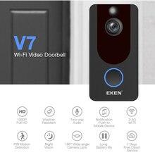 EKEN timbre de puerta de teléfono inteligente IP 1080P, cámara para apartamentos, alarma IR, intercomunicador de seguridad inalámbrico, puerta de vídeo WIFI, V7