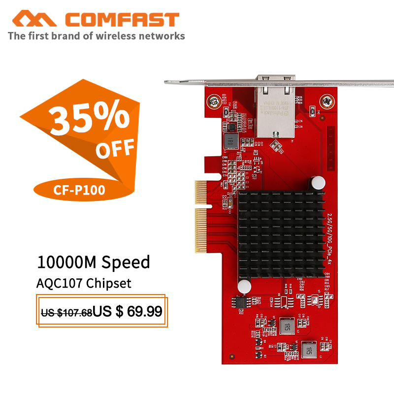 CF-P100 10G Ethernet PCI-E Wireless Network card adapter 2.5G/5G/10G PCIE-X4 10Gbps Fast transmission Dongle for Windows / Linux(China)
