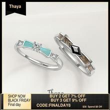 여성을위한 Thaya 실버 약혼 반지 정품 925 스털링 실버 결혼 반지 반짝 큐빅 지르코니아 파티 패션 쥬얼리 선물