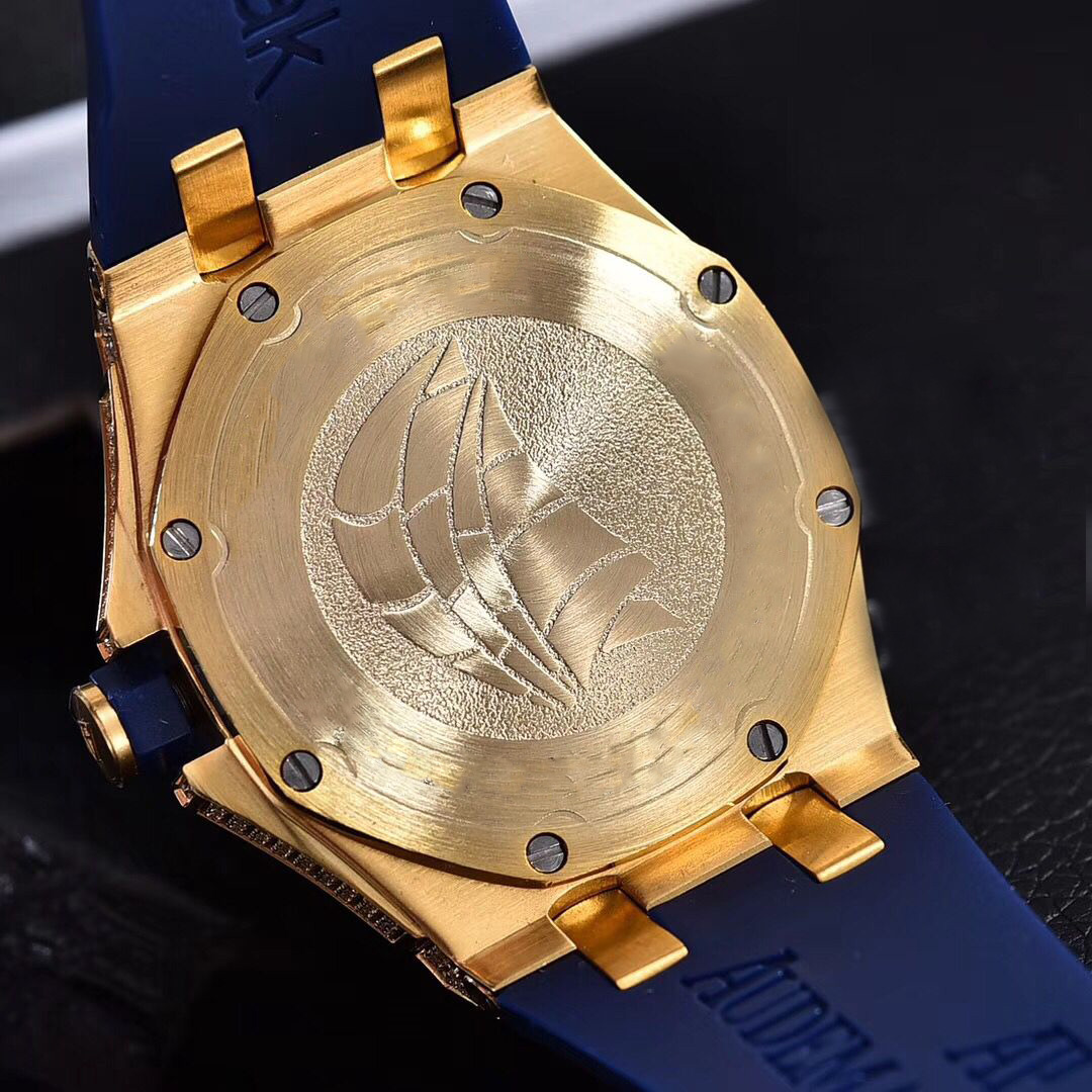 Full diamonds yellow gold Iced out watch 37mm szie women watch quartz ladies watches gold case red dial rubber strap - 5