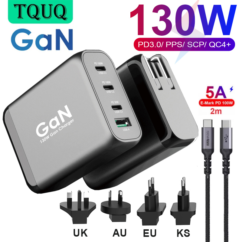4port 130W GaN USB C Wall Charger, 3-port Type-C PD 100W PPS 45W for Laptops MacBook iPhone Samsung, QC3.0/SCP for Huawei Xiaomi