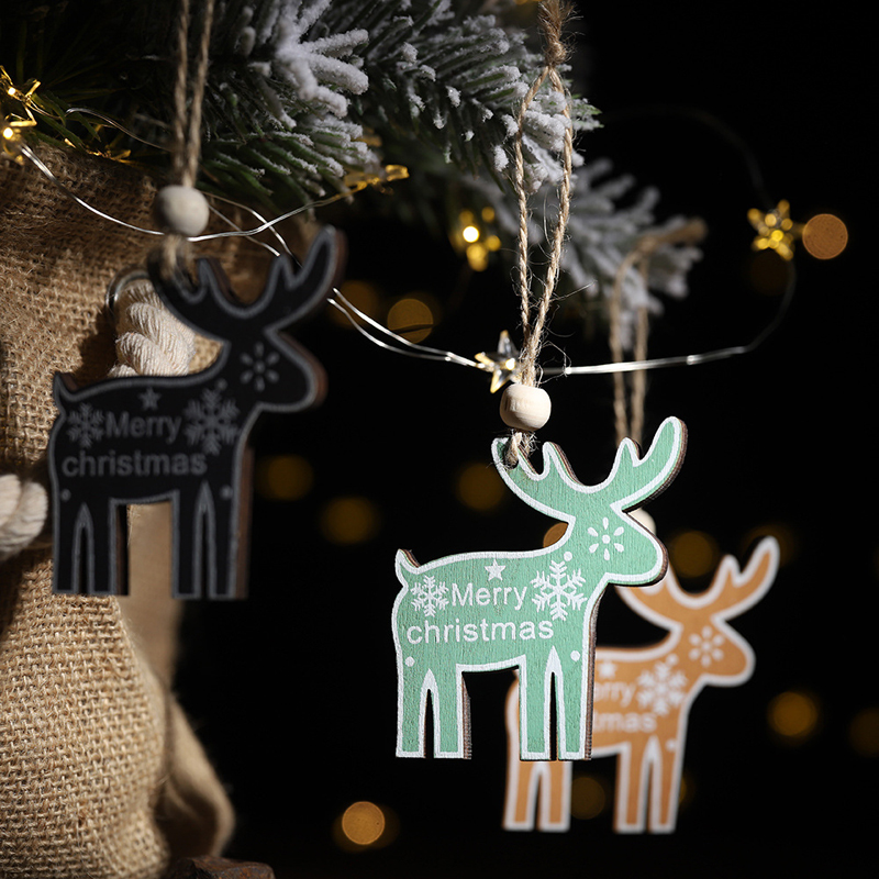 Wodden Christmas Tree Reindeer Ornement Hanging Pendant Decorations Gifts New Year Wooden