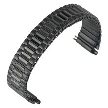 Классический черный ремешок для часов из нержавеющей стали удобный без пряжки эластичный ремешок для часов Прочный металлический сменный ремешок