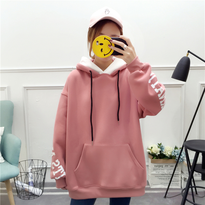 2019 Autumn Winter Casual Ladies Sweatshirt Pink Warm Loose Hoodie Long-sleeved Letter Kangaroo Pocket Women Clothing  Hoodie