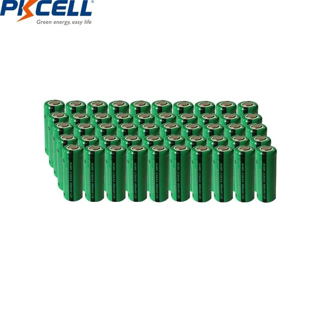 50 adet PKCELL 2/3 AAA pil 400mAh 1.2V 2/3AAA NI MH şarj edilebilir pil NiMh 2/3aaa piller endüstriyel düz üst toptan