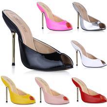 цена на Slip On High Heels Women Fashion Heels Shoes Peep Toe Metal Heels Sandals Plus Size 35-43 Sexy Sandals Slippers 2016 3845-FA4