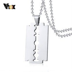 Vnox Unique Shaving Blade Pendant For Men Necklace Stainless Steel Casual Plain Male Jewelry With 20