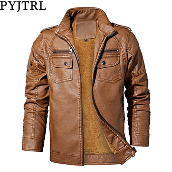 PYJTRL Mens Autumn Winter Fleece Lining Leather Jacket Fashion PU Washed Leather Motorcycle Jaket Men Bomber Camperas Thick Coat 1