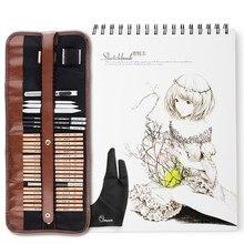 Marco-Kit de herramientas de dibujo y bocetos profesionales, con lápices de grafito, lápices de carbón, bolígrafo borrable de papel, cuchilla para manualidades, 29 Uds.