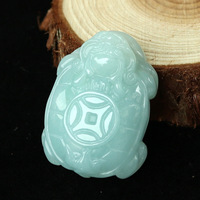 Certificate Natural Emerald Dragon tortoise Jade Pendant Necklace Charm Jewellery Fashion Hand Carved Man Woman Luck Amulet New