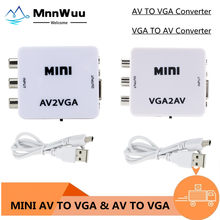 Convertidor de vídeo Mini HD AV2VGA, convertidor con Audio de 3,5mm, AV, VGA, convertidor para PC a TV, ordenador HD a TV