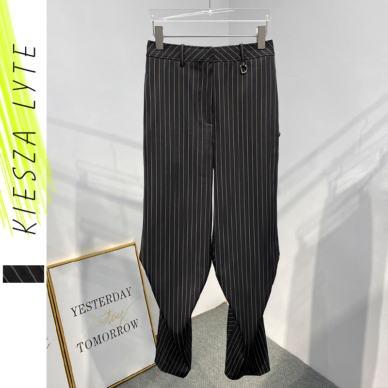 New Fashion Black Striped Pants for Women Casual Simple High Waist Slit Pants Femme Leisure Capris Trends Trousers