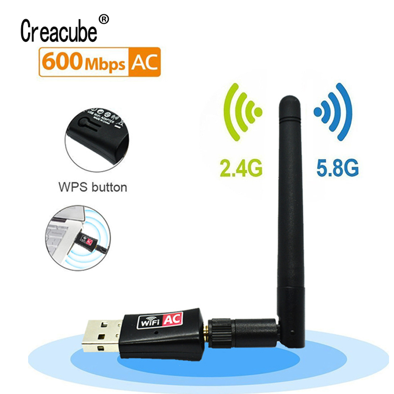 Creacube 600M Wireless USB WiFi Adapter Network Card Wifi Receiver 2.4/5G Dual Band Antennas Computer Network LAN Card