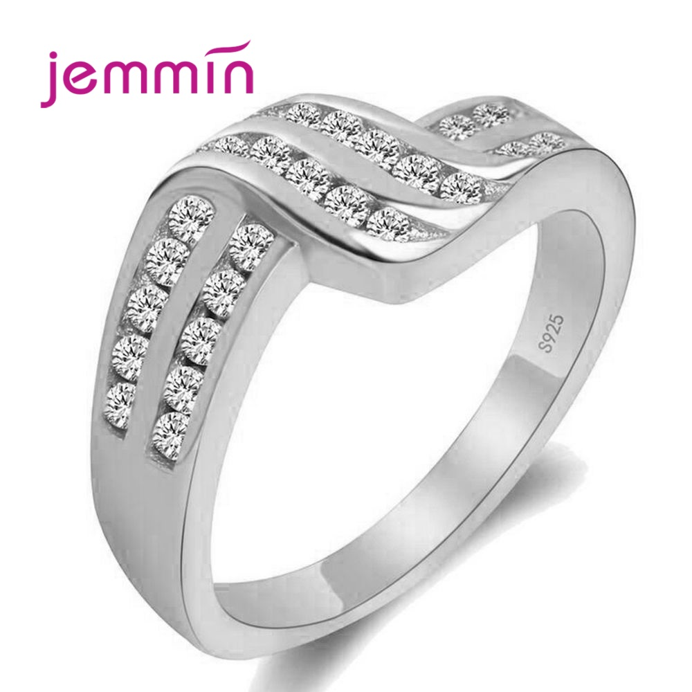 New Twist Classical Cubic Zirconia Wedding Engagement Ring For Woman Girls Austrian Crystals Gift 925 Sterling Silver Rings