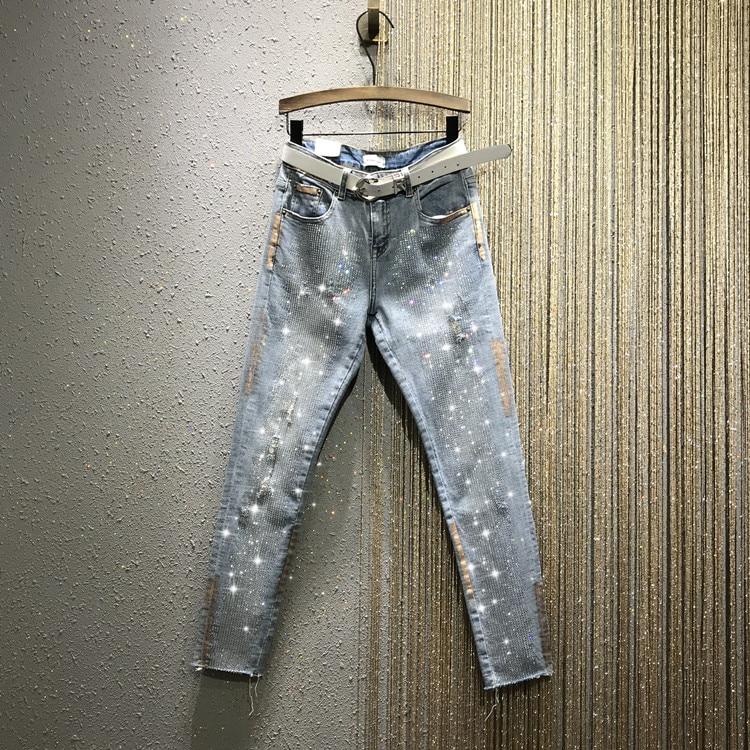 Women Jeans New Rhinestone Diamond Gold Tight Thin Ripped Denim Pencil Pants Female Stretch Slim Fit Jean Pants Jeans High Waist