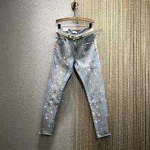 Women Jeans New Rhinestone Diamond Gold Tight Thin Ripped De
