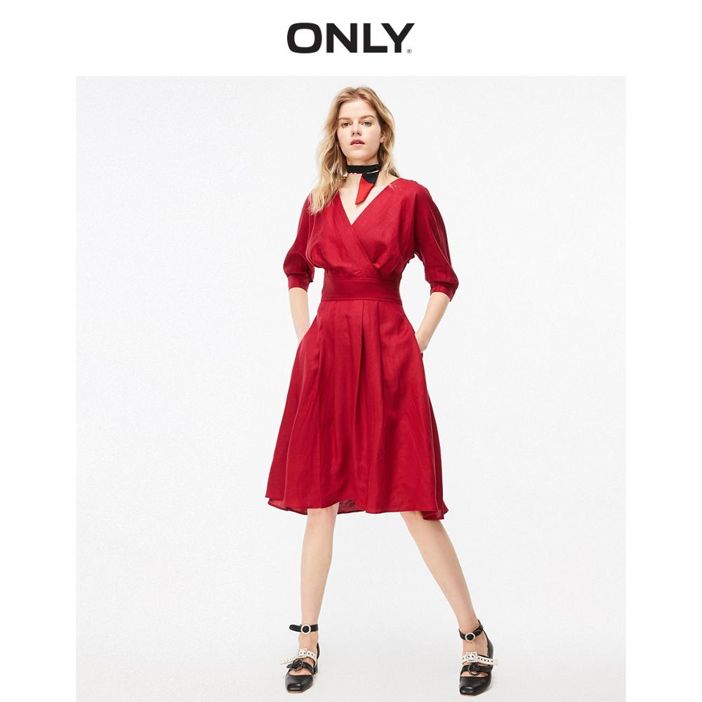 ONLY Women's Red Cinched Waist V-neckline 3/4 Sleeves Dress | 119207573