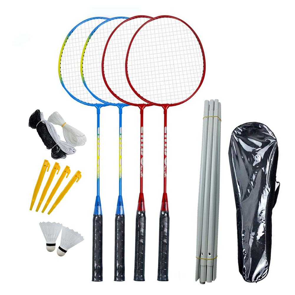 4 Badminton Rackets Badminton Rackets Set With Net Pole For Family Beginner Backyard Beach Game Playing