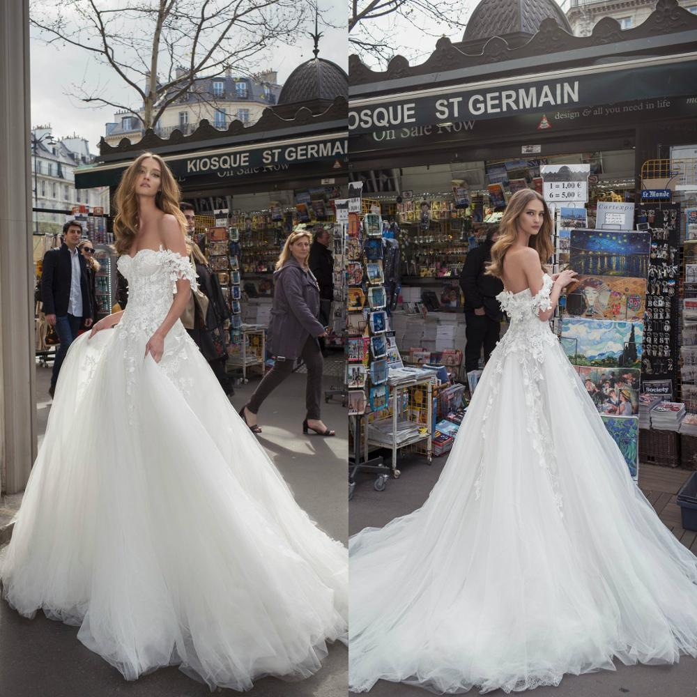 2020 Wedding Dresses Off Shoulder Lace Applique Bohemian Bridal Gowns Illusion Boho Sexy Backless Wedding Dress