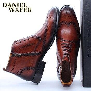Модные мужские ботинки; Кожаная повседневная обувь; Цвет черный, коричневый; Мужские модельные туфли на шнуровке с острым носком и перфорац