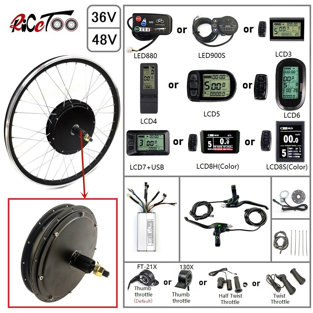 RICETOO Electric Bicycle Conversion Kit 48V 1500W Rear Cassette Wheel Motor With Optional 20