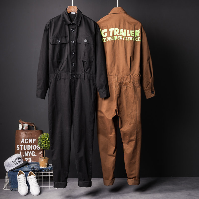 Fashion One Piece Overalls Men Long Sleeve Jumpsuits Rompers Casual Vintage Male Pants Trousers Clothes Spring Autumn Plus Size