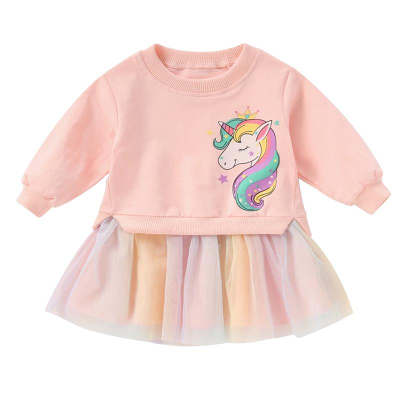 Girls Unicorn Dress Tops + Dress Kids Dresses For Girls Children Clothing Pattern Rainbow Girls Dress Winter Unicornio Vestido 4